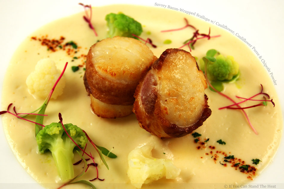 Savory Bacon-Wrapped Scallops with Cauliflower, Cauliflower Puree and Chipotle Powder