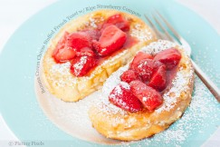 Banana Cream Cheese Stuffed French Toast with Ripe Strawberry Compote