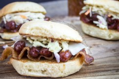 Bbq �Lil Smokies Sliders with Crispy Bacon, Creamy Coleslaw and Swiss Cheese
