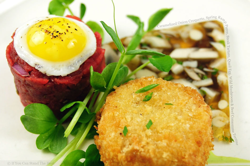 Caramelized Onion Croquette, Spring Ramp Puree, Steak Tartare, Quail Egg, Wild Mushroom and Beef Consomme Terrine
