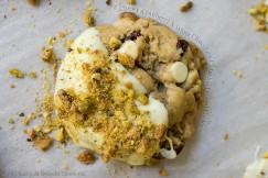 Chewy  Cranberry and White Chocolate Pistachio Dusted Cookies