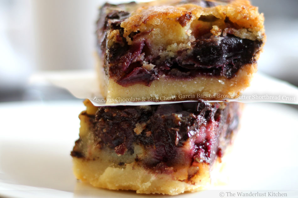 Luscious Chocolate and Bing Cherry Garcia Bars on Brown Butter Shortbread Crust