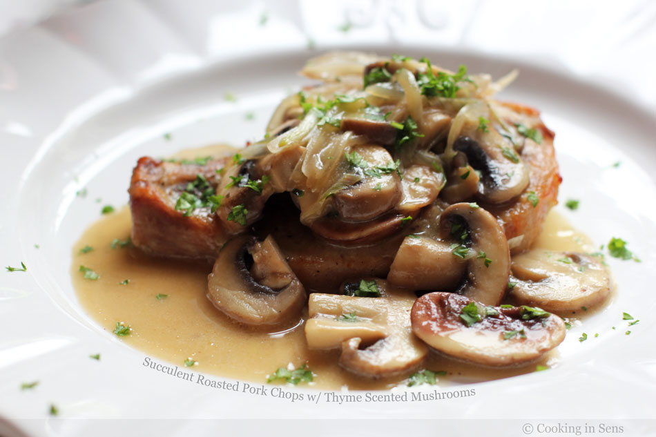 Succulent Roasted Pork Chops with Thyme Scented Mushrooms