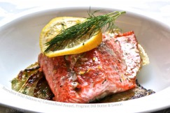 Succulent Wild Salmon with Caramelized Fennel, Fragrant Dill Butter and Lemon