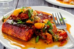 Sweet and Smoky Baked Salmon with Roasted Tomato and Basil Salsa