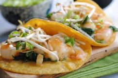 Thai Ginger-Lemongrass Marinated Shrimp Tacos with Bean Sprouts and Scallions