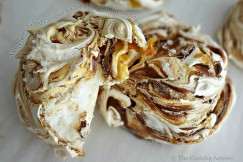 Airy, Chewy Salted Caramel and Chocolate Swirled Meringues