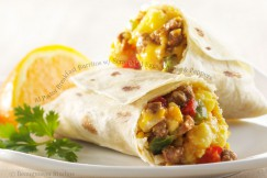 Al Pastor Breakfast Burritos with Scrambled Eggs, Cheese and Peppers