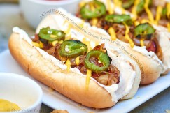 All Beef Hot Dog with Caramelized Onions, Bacon Cream Cheese and Grilled Jalapenos