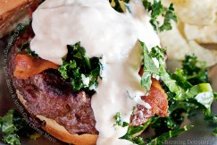 Ancho Chile Burger with Kale, Bacon and Ancho Goat Cheese Mayo