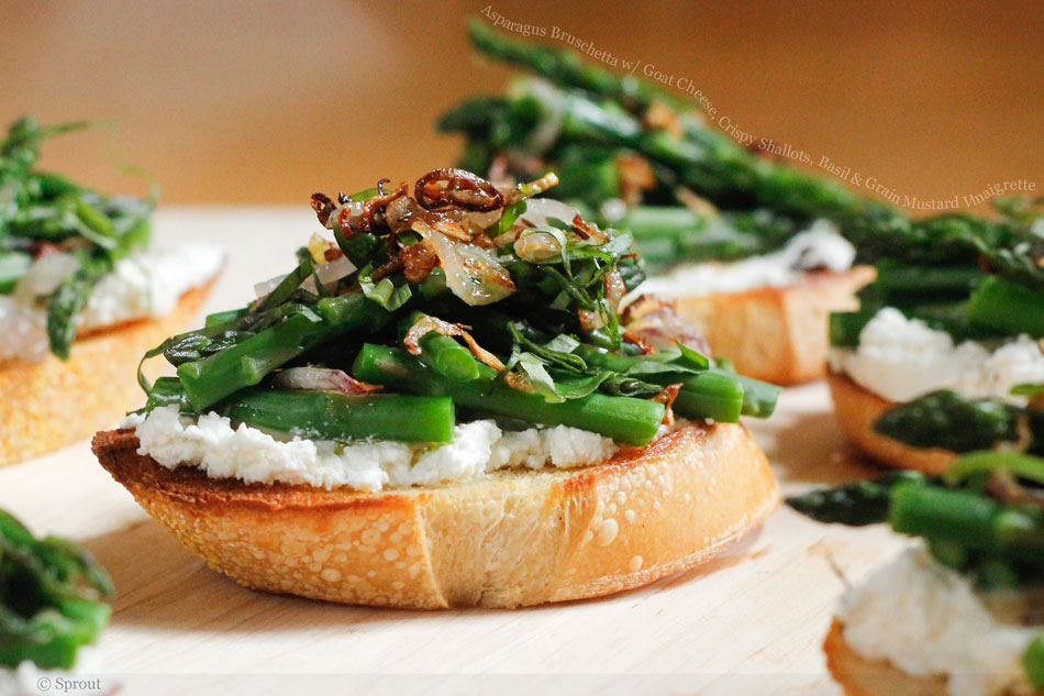 Asparagus Bruschetta with Goat Cheese, Crispy Shallots, Basil and Grain Mustard Vinaigrette