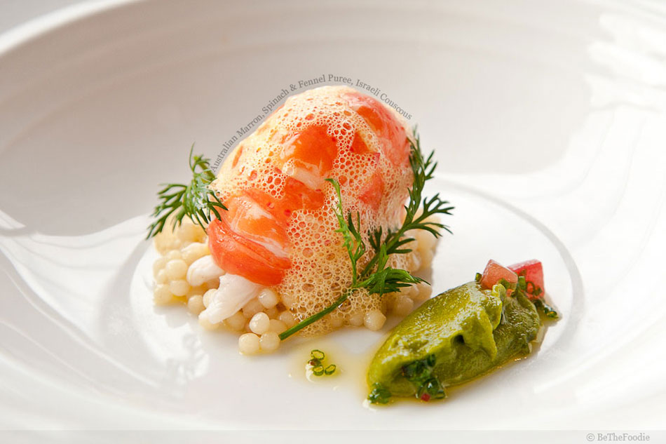 Australian Marron, Spinach & Fennel Puree, Israeli Couscous