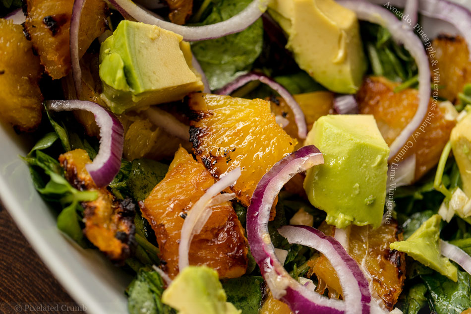 Avocado, Pineapple and Watercress Salad with Cumin Lime Vinaigrette