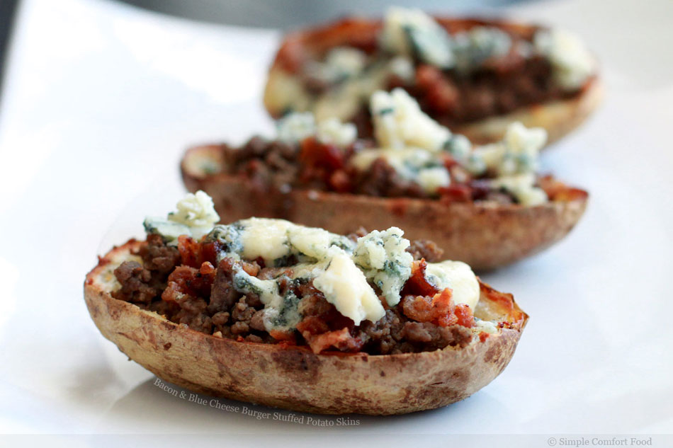 Bacon and Blue Cheese Burger Stuffed Potato Skins