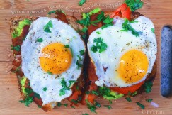 Bacon, Avocado and Tomato Toast with Over Easy Fried Eggs