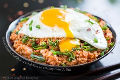 Bacon Kimchi Cauliflower Fried Rice with a Sunny-Side Up Egg