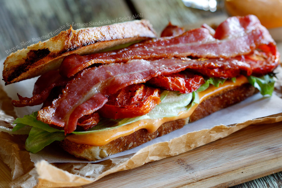 Bacon, Slow Roasted Tomato and Lettuce Sandwich with Spicy Aioli