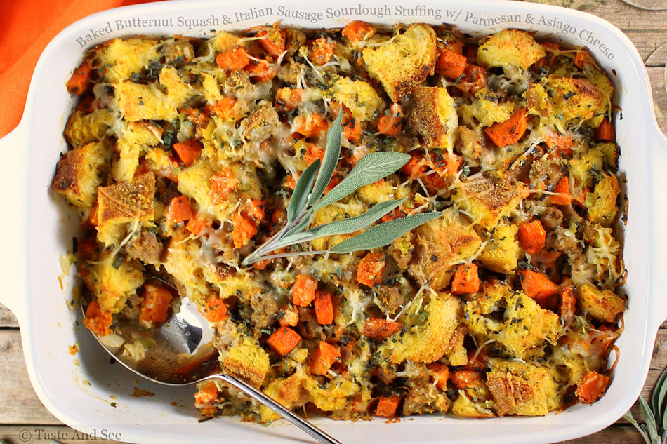 Baked Butternut Squash and Italian Sausage Sourdough Stuffing with Parmesan and Asiago Cheese