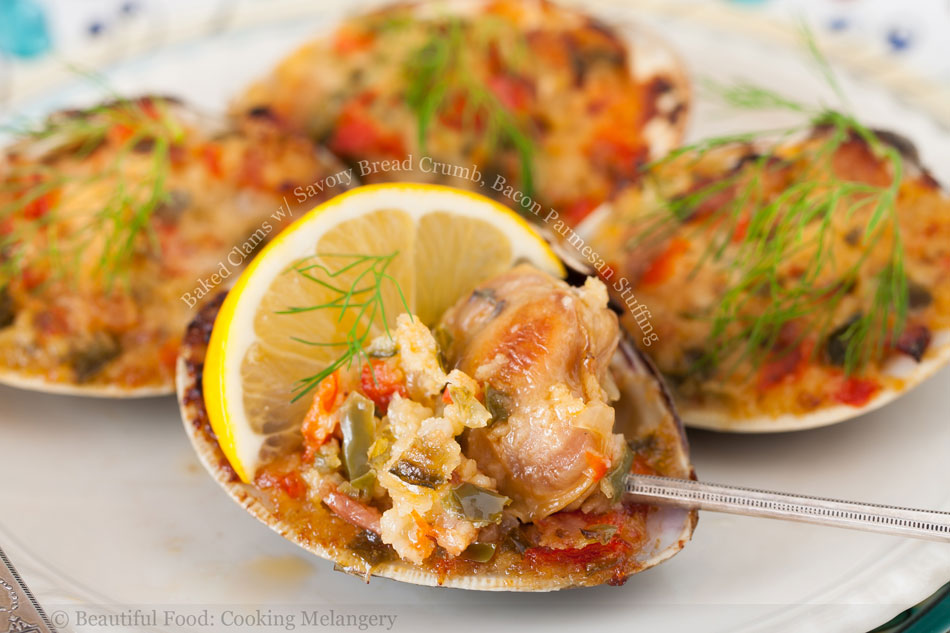 Baked Clams with Savory Bread Crumb, Bacon Parmesan Stuffing