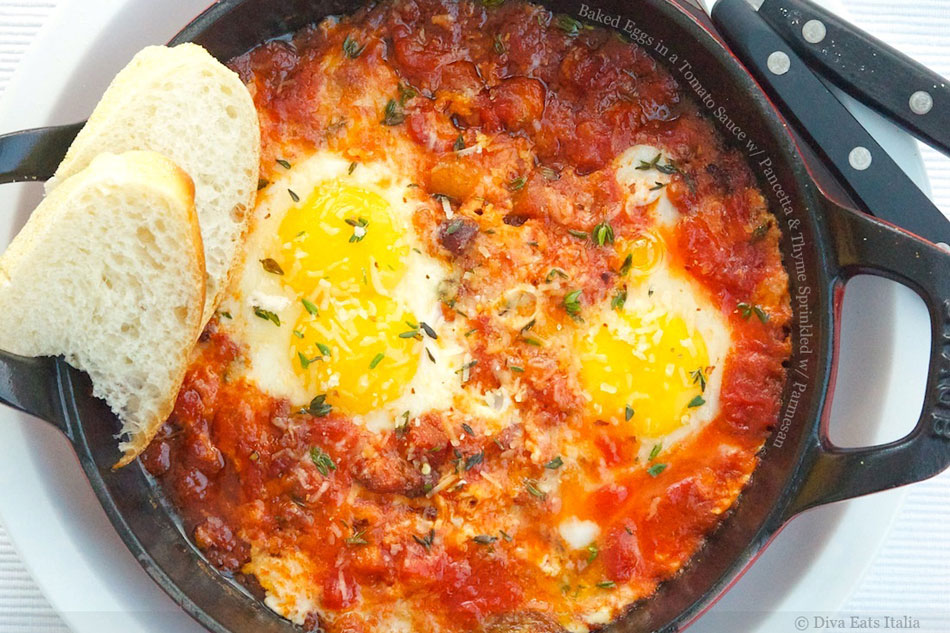 Baked Eggs in a Tomato Sauce with Pancetta and Thyme Sprinkled with ...