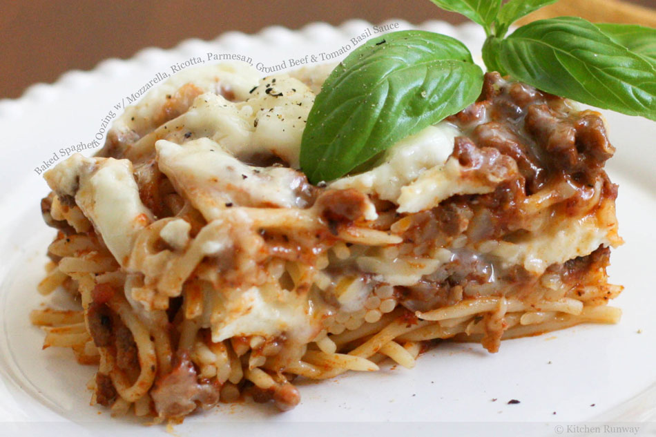 Baked Spaghetti Oozing with Mozzarella, Ricotta, Parmesan, Ground Beef and Tomato Basil Sauce