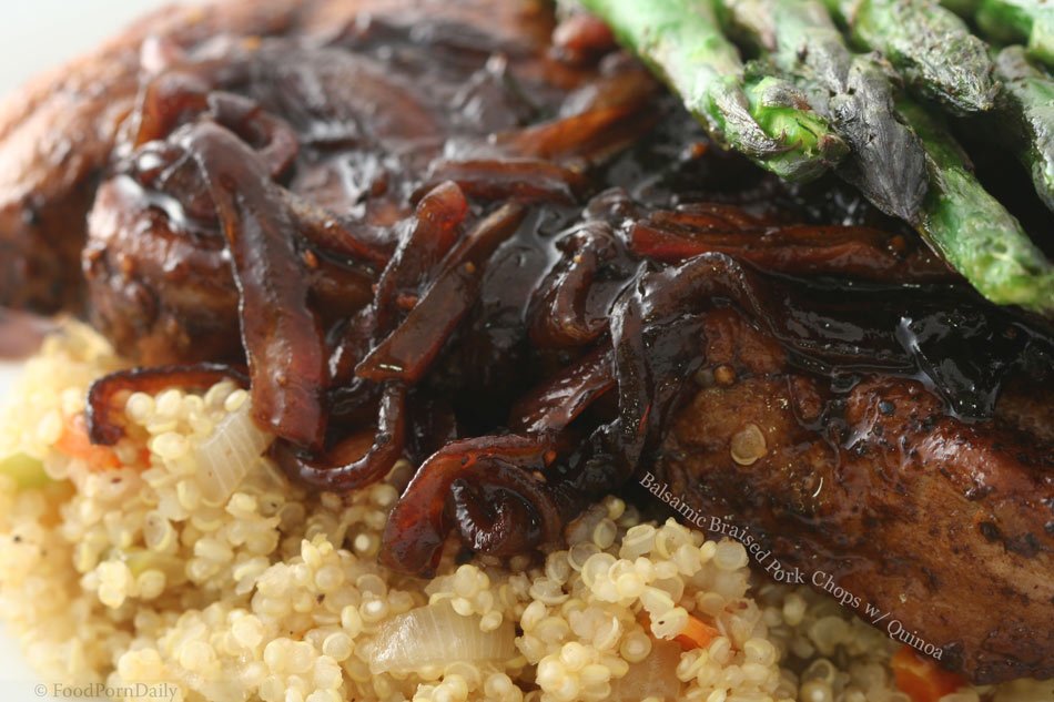 Balsamic braised pork chops with quinoa « FoodPornDaily ...