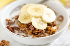Banana Chai Granola with Coconut Milk and Banana Slices