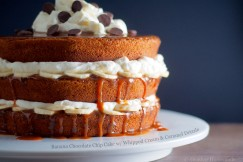 Banana Chocolate Chip Cake with Whipped Cream and Caramel Drizzle