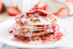 Banana Pancakes with Fresh Strawberry Sauce and Coconut Whipped Cream