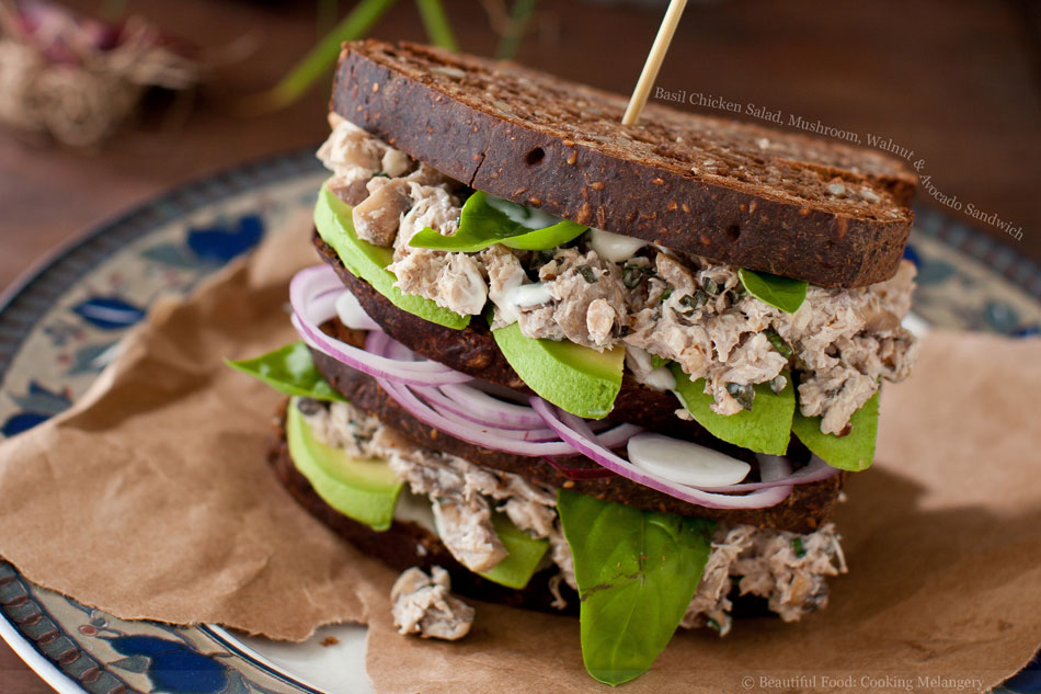 Basil Chicken Salad, Mushroom, Walnut and Avocado Sandwich