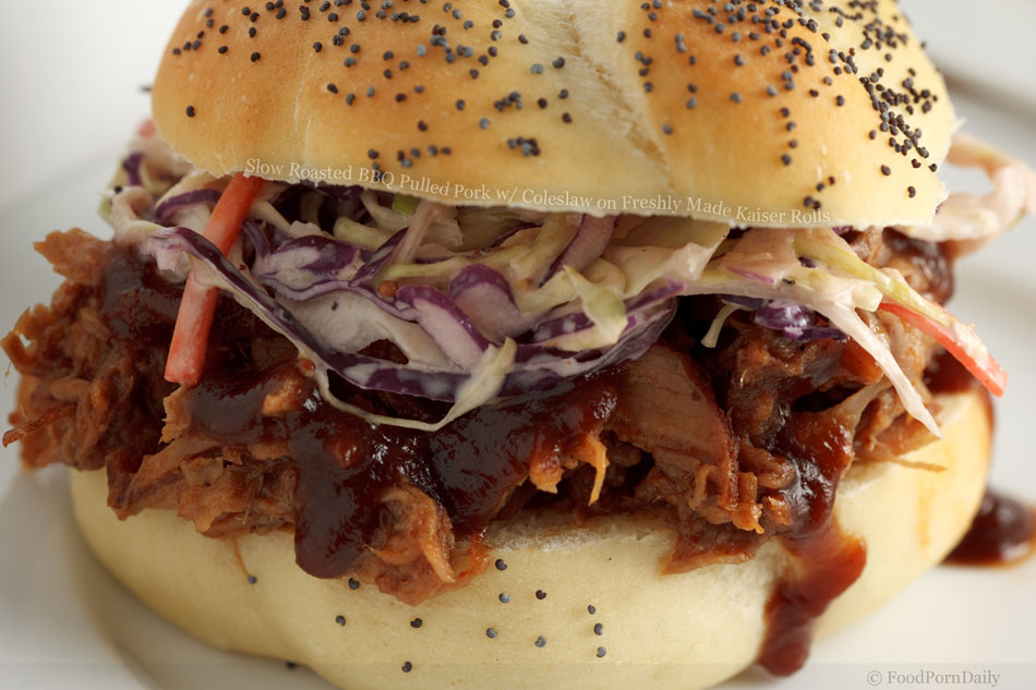 Slow Roasted BBQ Pulled Pork with Coleslaw on Freshly Made Kaiser ...