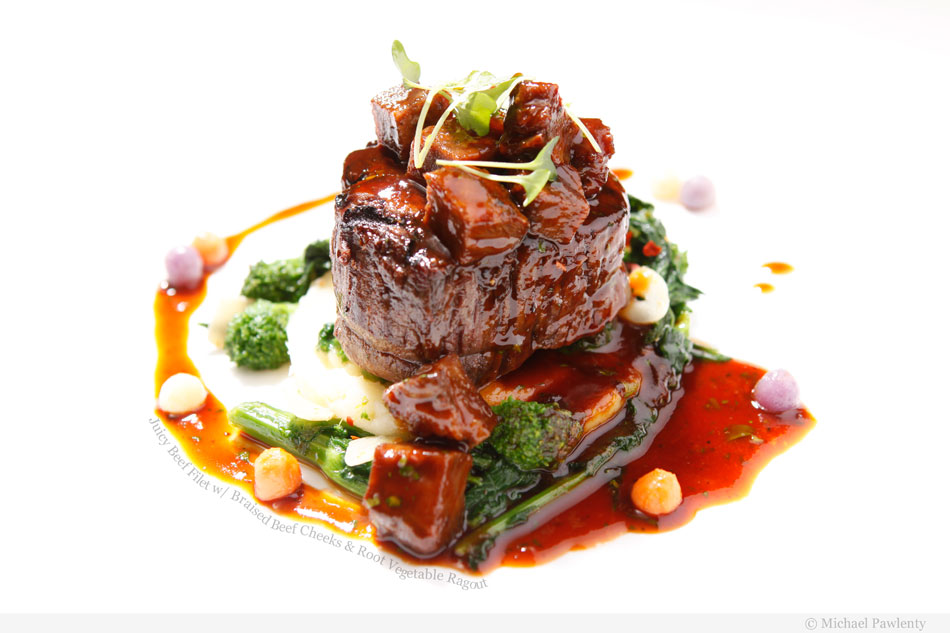 Juicy Beef Filet with Braised Beef Cheeks and Root Vegetable Ragout