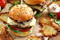 Beef Sliders with Fontina Cheese, Crispy Speck Ham and Creamy Mushroom Sauce