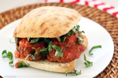 Beef, Spicy Pork Sausage and Goat Cheese Meatballs in Marinara on Ciabatta