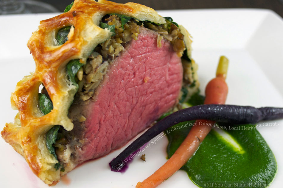 Beef Wellington with Spinach and Caramelized Onion Puree, Local Heirloom Carrots