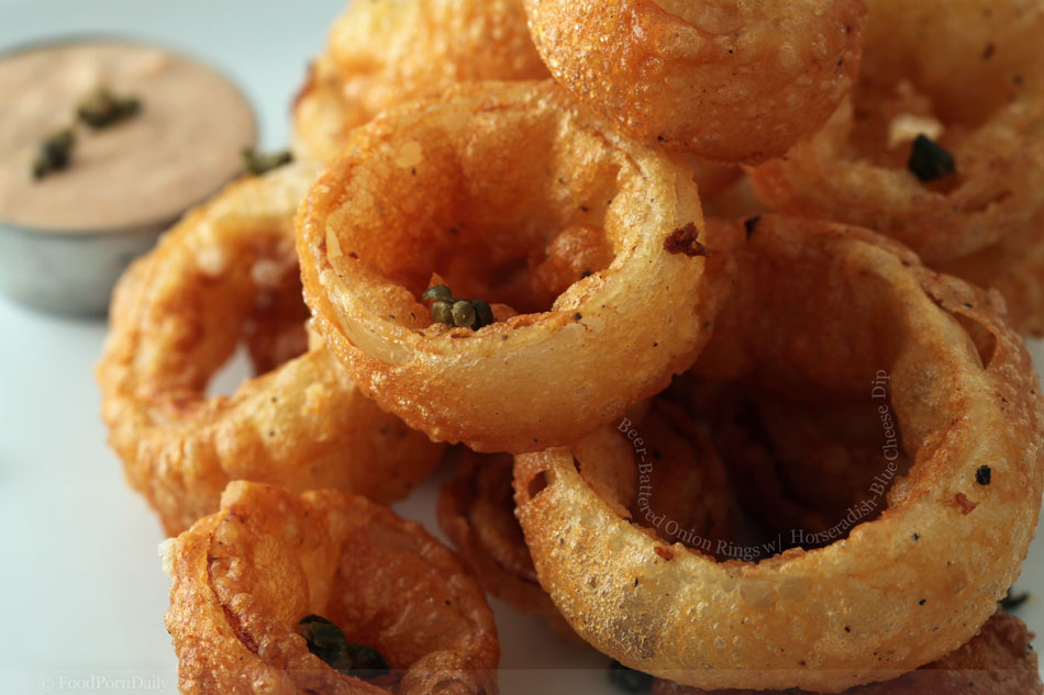 Beer-Battered Onion Rings with Horseradish-Blue Cheese Dip ...