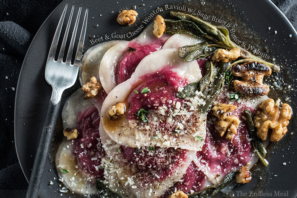 Beet and Goat Cheese Wonton Ravioli with Sage Brown Butter and Walnuts