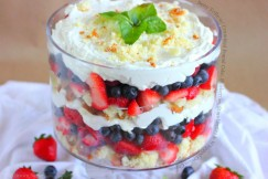 Berry Trifle with Crumbled Pound Cake, Blueberries, Strawberries and Whipped Cream Cheese