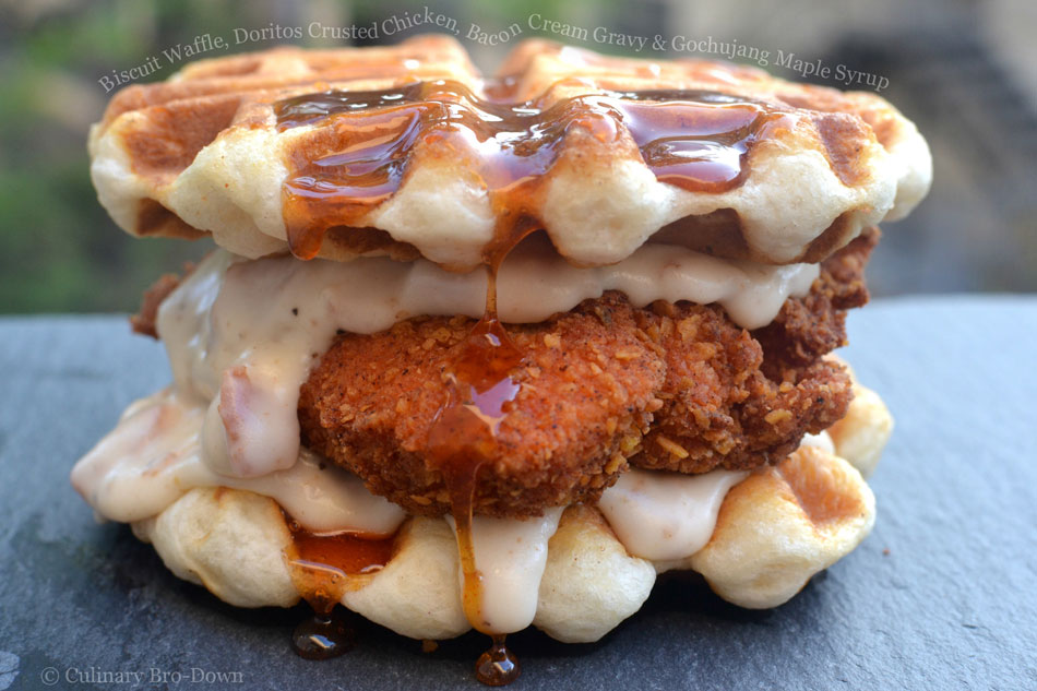 Biscuit Waffle, Doritos Crusted Chicken, Bacon Cream Gravy and Gochujang Maple Syrup