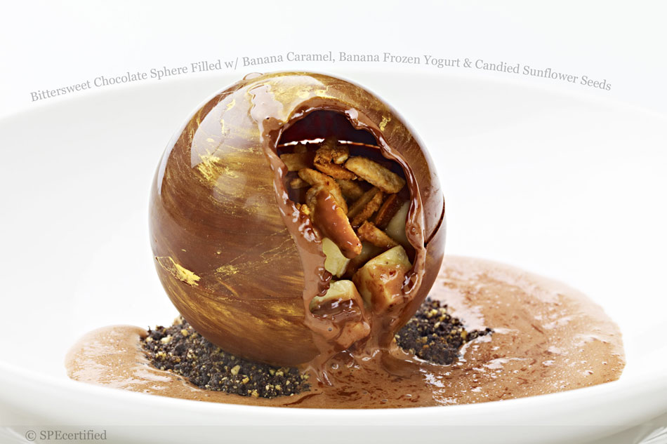 Bittersweet Chocolate Sphere Filled with Banana Caramel, Banana Frozen Yogurt and Candied Sunflower Seeds