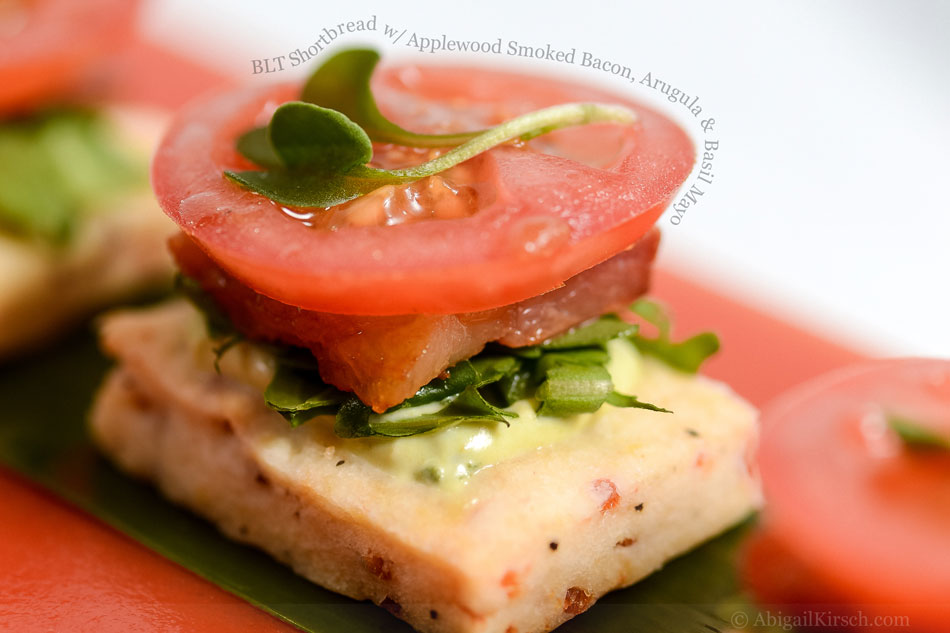 BLT Shortbread with Applewood Smoked Bacon, Arugula and Basil Mayo