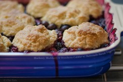 Blueberry, Blackberry and Strawberry Cobbler with Buttermilk Biscuit Topping