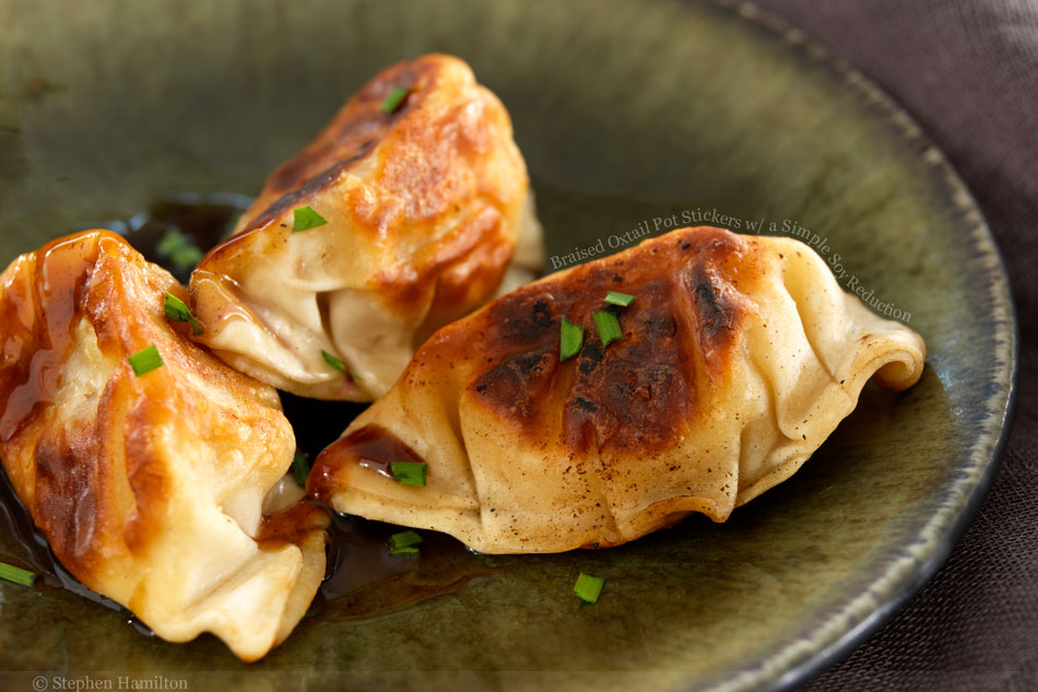 Braised Oxtail Pot Stickers with a Simple Soy Reduction