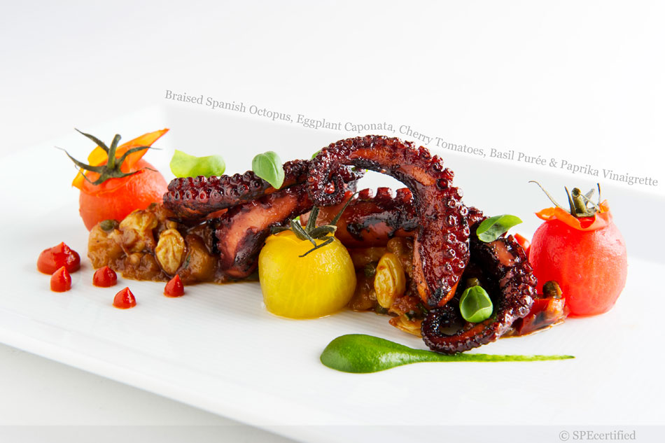 Braised Spanish Octopus, Eggplant Caponata, Cherry Tomatoes, Basil Purée and Paprika Vinaigrette