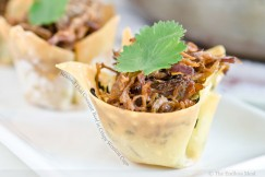 Braised Thai Coconut Beef in Crispy Wonton Cups
