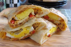 Breakfast Calzones with Spicy Chorizo, Cheese, Peppers, Onions and Eggs