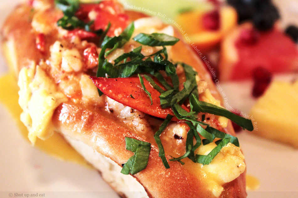 Breakfast Lobster Roll – Scrambled Eggs, Lobster, Hollandaise, Chives on Homemade Brioche Roll