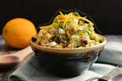 Bright Quinoa Salad with Dried Cranberries, Goat Cheese, Orange and Fresh Basil