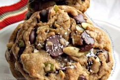 Brown Butter Chocolate Chip Cookies with Pepitas, Dried Cherries and Salt
