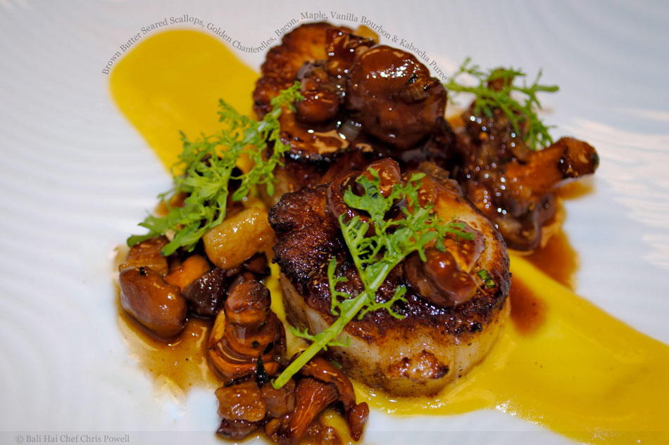 Brown Butter Seared Scallops, Golden Chanterelles, Bacon, Maple, Vanilla Bourbon & Kabocha Puree